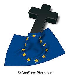 Christian Kreuz und Flagge der europäischen Union - 3D Rendering.