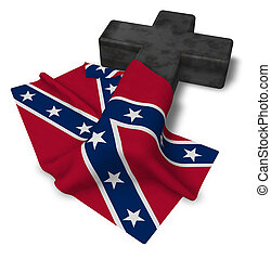 Christian Kreuz und Flagge der Konföderierten Staaten von Amerika - 3D Rendering.