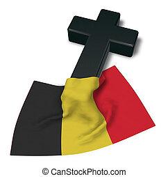 Christian Kreuz und Flagge von Belgium - 3D Rendering.