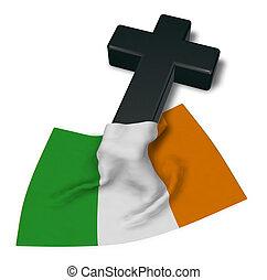 Christian Kreuz und Flagge von Irland - 3D Rendering.