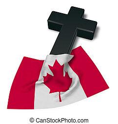 Christian Kreuz und Flagge von Kanada - 3D Rendering.