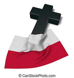 Christian Kreuz und Flagge von Poland - 3D Rendering.
