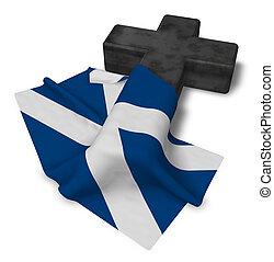 Christian Kreuz und Flagge von Schottland - 3D Rendering.