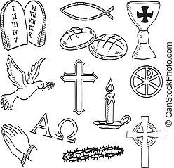 Christliche handgefertigte Symbole illustrieren
