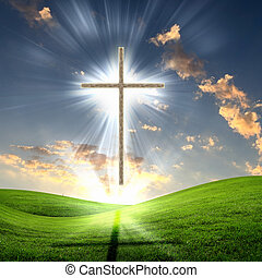 Christliche Kreuze gegen den Himmel