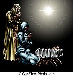 Christliche Weihnachtsgeburtsszene.