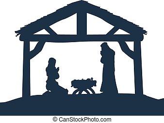 Christliche Weihnachtsszenen Silhouetten.