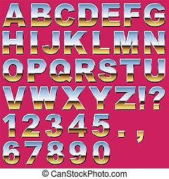 Chrome Buchstaben und Zahlen.