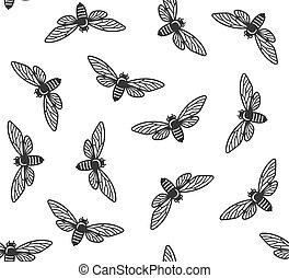 Cicada Insekten nahtlose Muster mit weißem Hintergrund. Vector