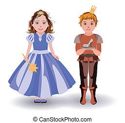 Cinderella und Prinz mit Pantoffeln.