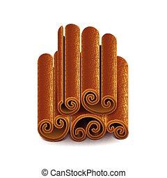 Cinnamon isoliert auf weißem Vektor.