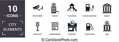 City-Element-Ikone eingestellt. Behält eine voll ausgestattete Wohnung, Fahrradparkplatz, Tankstelle, Spielplatz, Museum, Freizeitpark Ikonen. Bearbeitendes Format