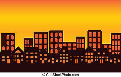 City Skyline bei Sonnenuntergang