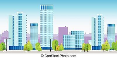 City skylines blaue Illustration Architektur Gebäude Stadtbild.
