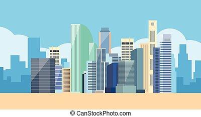 cityscape, groß, ansicht, stadt skyline, modern