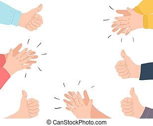 clap., glückwünsche, hände, job., karikatur, concept., menschliche , guten, bravo