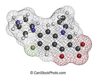 class), chemische , ciprofloxacin, (fluoroquinolone, antibiotikum, droge