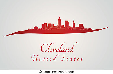 Cleveland Skyline in Rot.