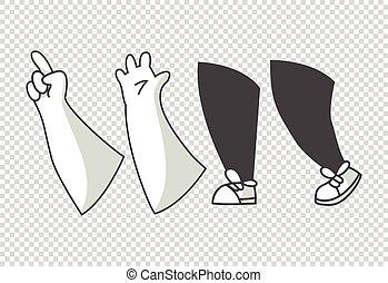 clipart, arme, beine, stiefeln, gehen, verschieden, poses., hände, karikatur, feet., gesture., vektor, verschieden, gloved, hands., lags