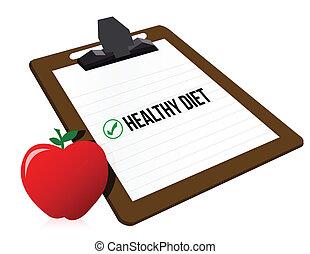"""Clipboard mit markiertem Kästchen """"Diet"""" und Apfel."""