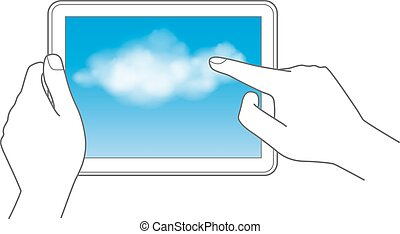 Cloud Computing and Touchpad concept.