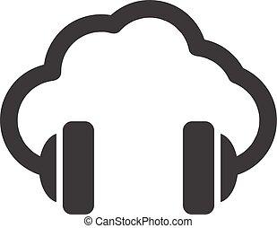 Cloud-Musik-Vektor-Konzept Icon.
