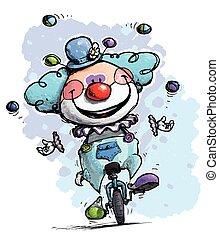 Clown auf Einrad-Jongleinfarben.