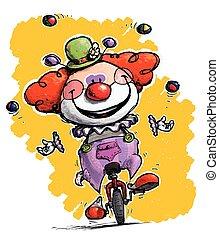 Clown auf Einrad Jonglieren.