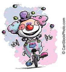 Clown auf Einrad, jongliert Mädchenfarben.