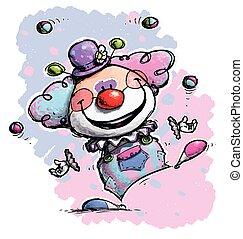 Clown Jonglieren - Babyfarben