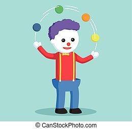 Clown jongliert.