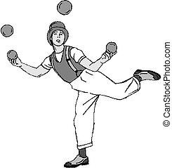 Clown jongliert mit Eiern