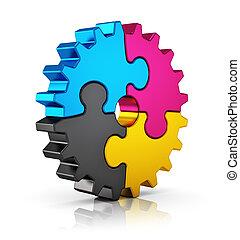 CMYK Puzzle-Ausrüstung