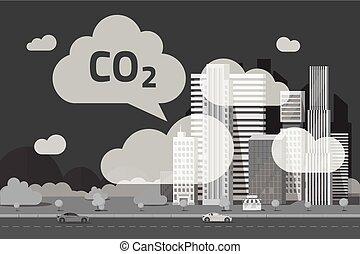 CO2-Emissionen von Großstadt-Vektorgrafik, flache Cartoon-Stadtszene oder Kohlendioxidemissionen oder Umweltverschmutzung Wolken durch die Stadt, Rauch oder Smog, Umweltproblem.