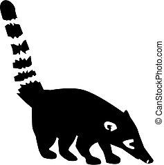 Coati mit gestreiftem Schwanz.