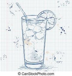 cocktail, eingefrorener tee, langer, notizbuch, insel, seite