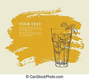 cocktail, insel, tee, vereiste, langer