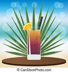 cocktail, insel, vereiste, langer, tee