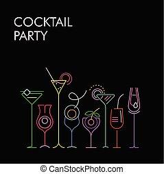 Cocktails Neonfarben Vektor Hintergrund