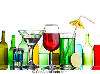 cocktails, verschieden, bar, alkohol, getrãnke