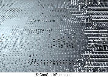 code, binärer, stromkreis, elektronisch