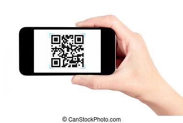 code, scanner, beweglich, hand, telefon, qr, besitz