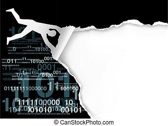 codes., papier, mann, binärer, fliegendes