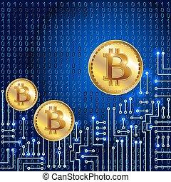 Coin Bitcoin auf Binärcode Hintergrund und elektronischen Schaltkreis