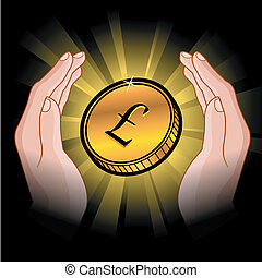 Coin in Händen.