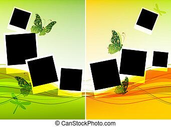 Collage Design, einfügen Sie Ihre Fotos, Hintergrund mit schönen Schmetterlingen.