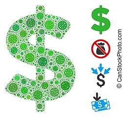 collage, elemente, coronavirus, dollar