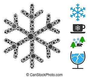 collage, elemente, coronavirus, schneeflocke