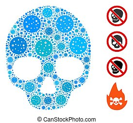 collage, elemente, totenschädel, coronavirus