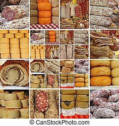 Collage mit Würstchen und Käse.
